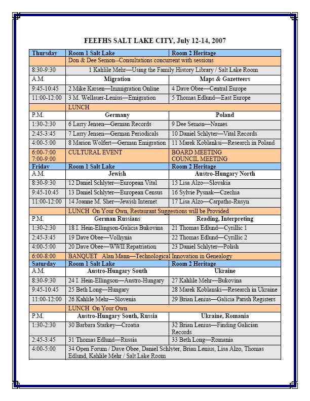 2007 feefhs conference Schedule