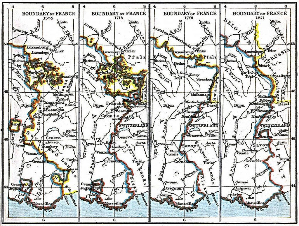 Border changes of Alsace-Lorraine 1555-1871