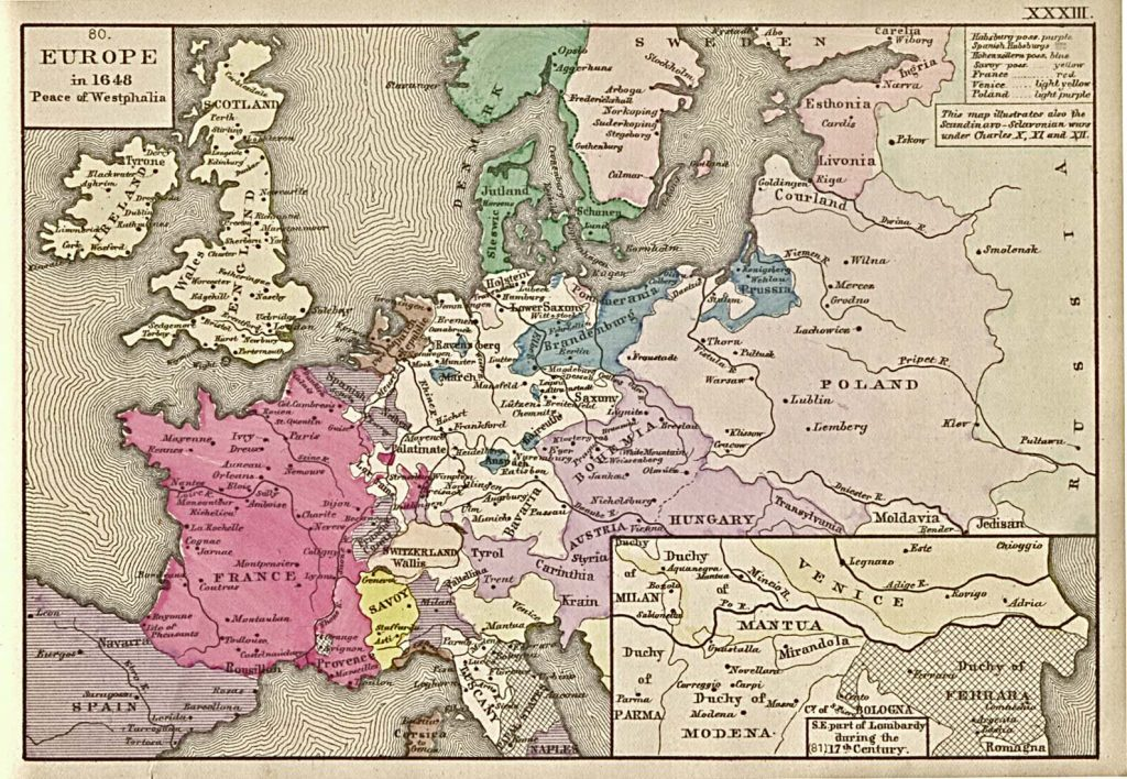 Europe in 1648 after the Peace of Westphalia