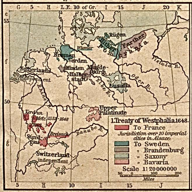 1. Treaty of Westphalia in 1648 after the end of the 30-Years-War