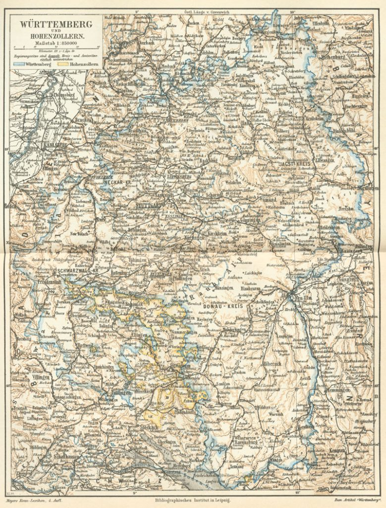 Württemberg and Hohenzollern in 1888
