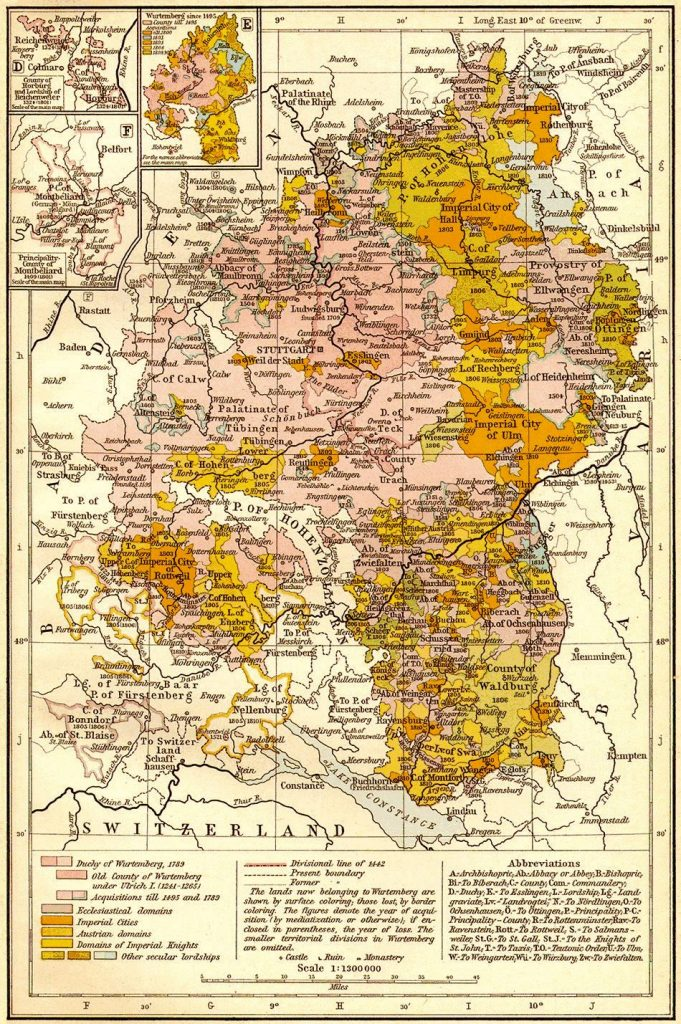 Württemberg between 1495 and 1809