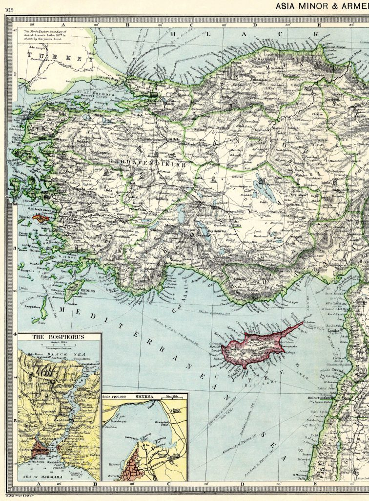 Asia Minor and Armenia West 1908 - High Resolution
