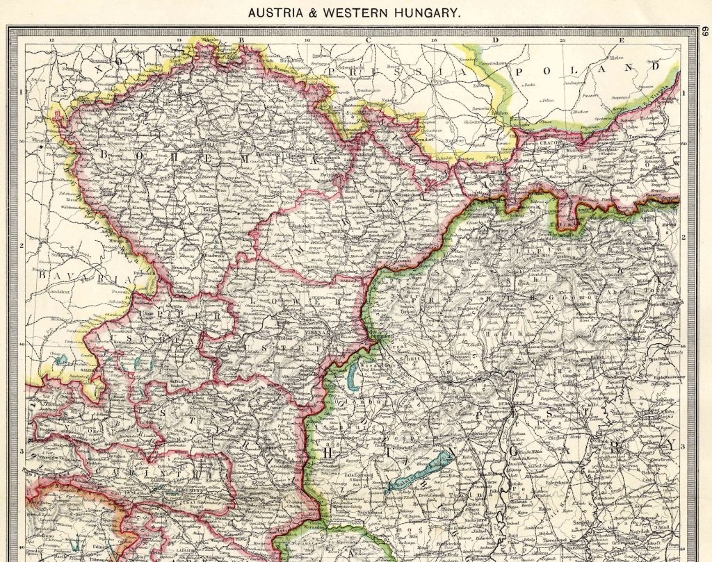 From Harmsworth Atlas and Gazetteer, London, 1909, Scale: 1:2,800,000Download the Hi Res Map and view the Gazetteer