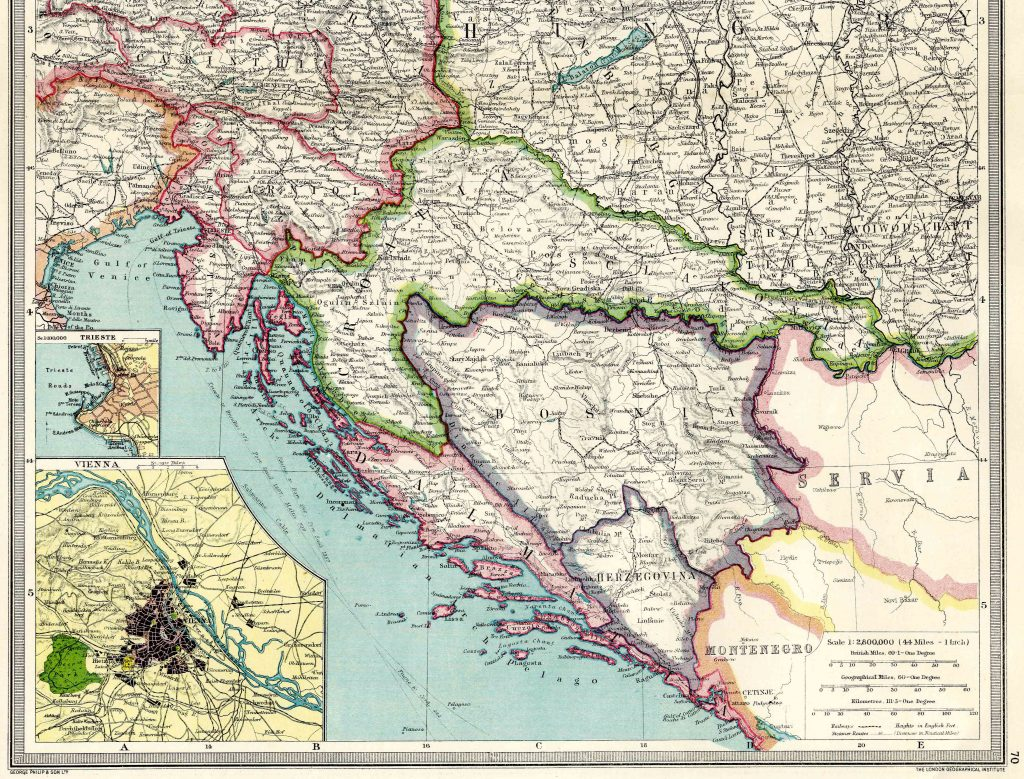 Austria and Western Hungary South 1908 - High Resolution
