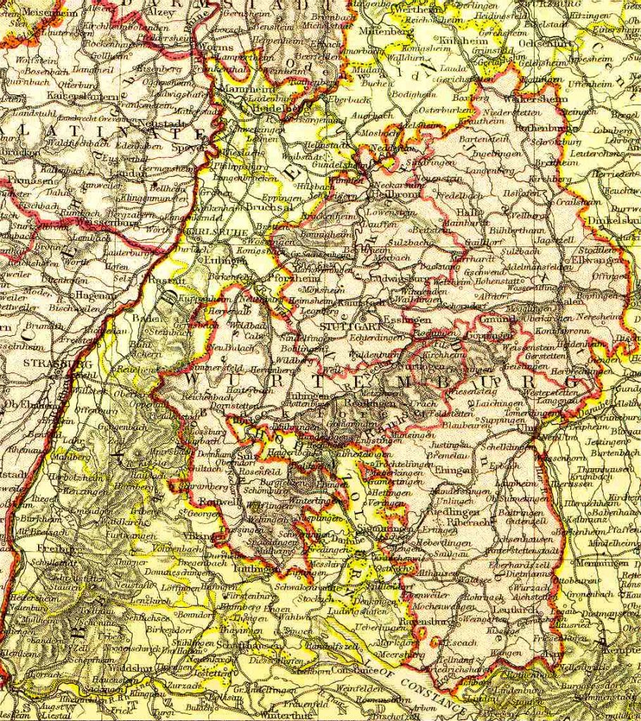 From Blackie & Sons Atlas (Edinburgh, 1882), Scale: 1:1,800,000 (or one inch equals about 28 miles)