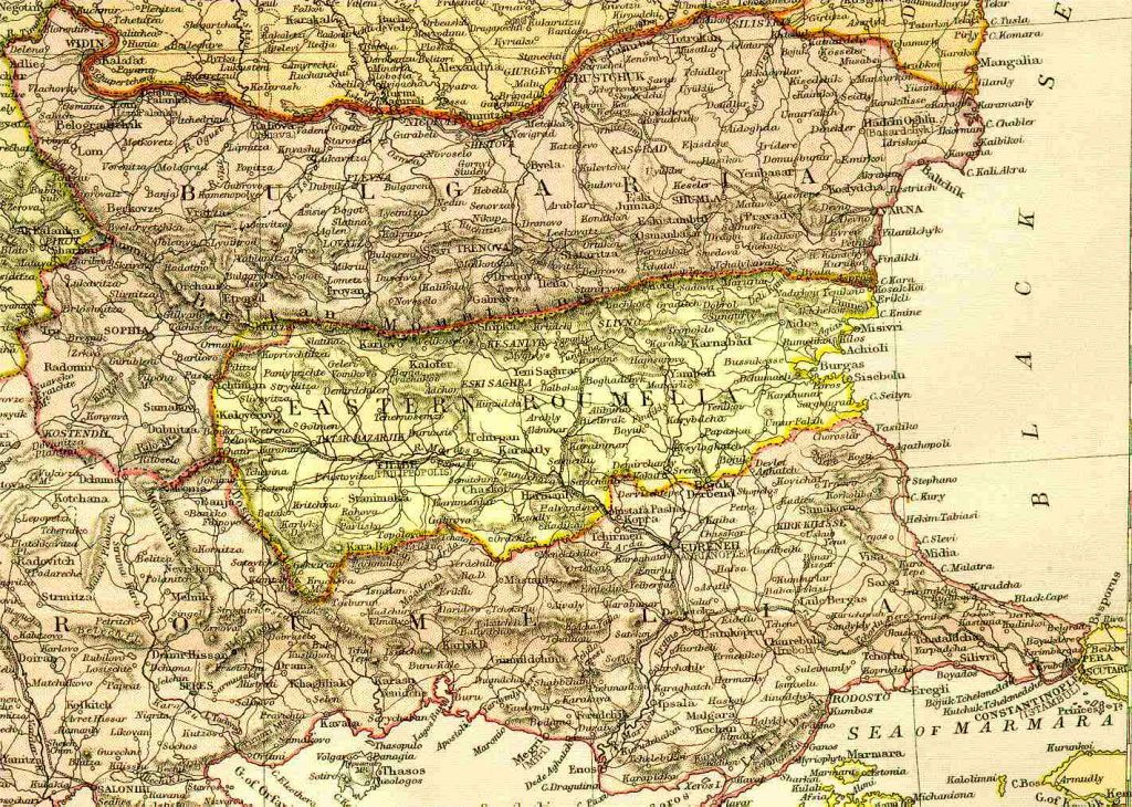 From Blackie & Sons Atlas (Edinburgh, 1882), Scale: 1:3,200,000 (or one inch = about 50 miles)