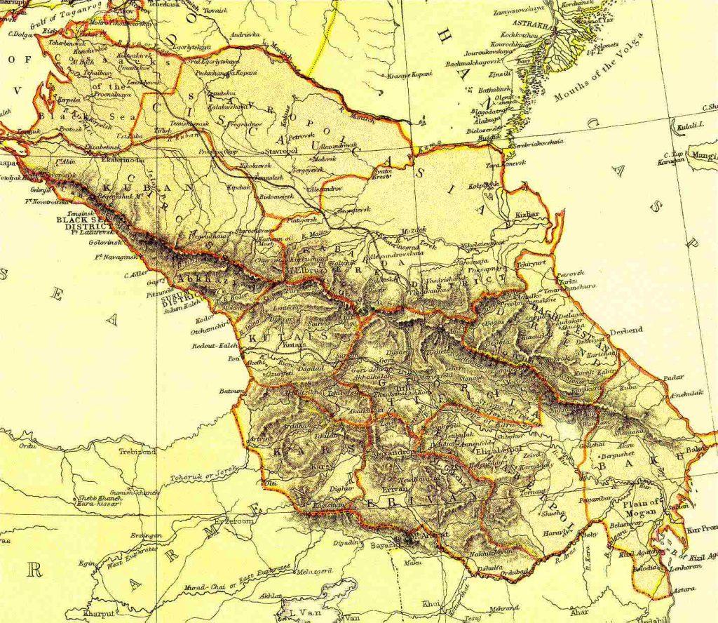 Map Of Russia And Georgia.Russia Caucusus Georgia Azerbaijan Armenia 1882 Feefhs