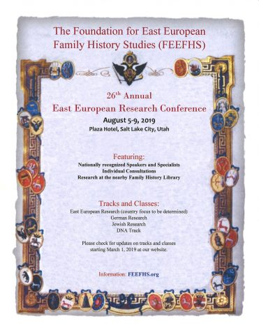 Temporary flyer for the 2019 FEEFHS conference